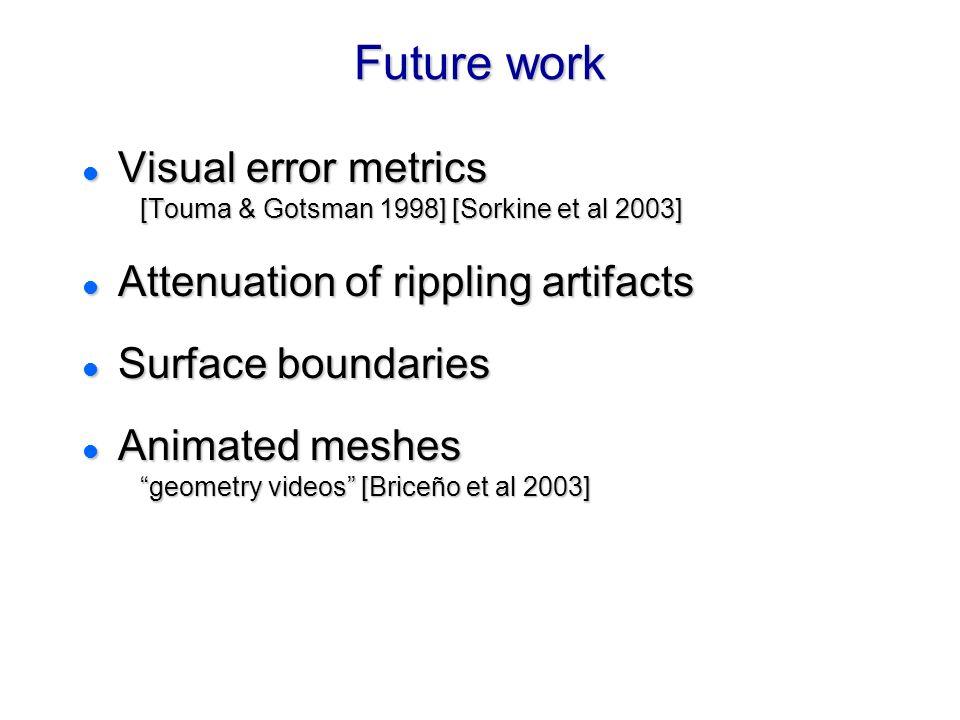 Future work Visual error metrics [Touma & Gotsman 1998] [Sorkine et al 2003] Attenuation of rippling artifacts.
